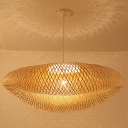 Bamboo Knitted Pendant Lighting Chinese Style Single Light Indoor Hanging Lamp for Restaurant