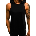 Mens Active Plain Letter Print Hood Sleeveless Fitted Breathable Hoodie Vest