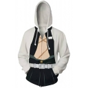 Mens Leisure Japanese Letter Back Long Sleeve Zip Up White Cosplay Hoodie