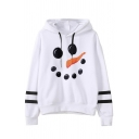 Womens Lovely Snowman Face Print Striped Long Sleeve White Drawstring Hoodie