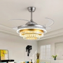 Silver and Gold Tier Ceiling Fan Light Modern 3 Wind Speed Faceted Crystal LED Semi Flush Lamp with Reversible Blade