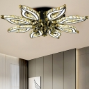 Floral Flush Mount Contemporary Crystal LED Chrome Ceiling Light Fixture with Acrylic Diffuser in Warm/White/Natural Light