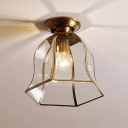 Colonialist Bell Ceiling Mounted Light 1 Bulb Clear Glass Flush Mount Light Fixture in Brass for Foyer