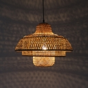 Handwoven Tiered Hanging Ceiling Light Rustic Asian Style 1 Bulb Pendant Lamp in Natural Wood