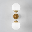 Minimalist 2-Head Brass Armed Wall Sconce Double Milky Glass Wall Mount Ball Lamp