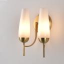 Opal Glossy Glass Tulip Sconce Light Contemporary 1/2-Light Gold Wall Mount Light Fixture
