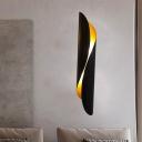 Metallic Black/White Flush Mount Sconce Rolled 2-Head Minimalism Wall Mounted Lighting