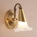 1/2-Light Flower Wall Sconce Traditional Style Gold Metal Wall Lighting with Frosted Glass Shade