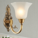 White Glass Bell Wall Lighting Vintage Style 1/2-Light Living Room Wall Sconce Fixture with Brass Curved Arm