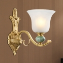 Milk Glass Bell Wall Sconce Traditional Style 1/2-Light Bedside Gold Finish Wall Lamp with Ceramic Decoration