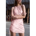 Chic Girls' Sleeveless Crew Neck Cut Out Back Bow Tie Side Ruched Plain Velvet Mini Bodycon Dress