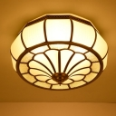 Colonial Drum Ceiling Mounted Light 4 Bulbs Prismatic Opaline Glass Flush Mount Light Fixture in Brass
