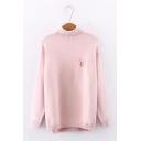Ladies Cute Embroidery Pattern Long Sleeve Turtle Neck Side Split Plain Pullover Sweater