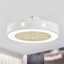 Round/Square Flush Mount Lighting Modern Metal LED White Ceiling Fan Light with Crystal Accent