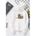 Womens Cute Cartoon Printed Long Sleeve Pouch Pocket Casual Pullover Hoodie