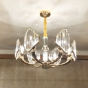 Gold Radial Hanging Lamp Kit Simple Style 6 Heads Crystal Block Chandelier Light