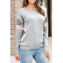 Womens Chic Leopard Patched Long Sleeve Round Neck Leisure Regular Pullover Sweatshirt
