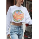 Womens Cute Letter NICKELODEON STUDIOS Printed Long Sleeve White Crop Graphic Sweatshirt Top