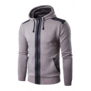 Mens Casual Long Sleeve Contrast Trim Zip Placket Slim Fit Hooded Cardigan Drawstring Hoodie