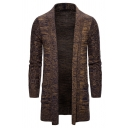 Mens Popular Plain Shawl Collar Longline Open Front Cardigan Chunky Knitted Coat with Pocket