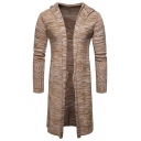 Mens Hot Popular Plain Marbled Knit Long Sleeve Longline Hooded Cardigan Knitwear Coat