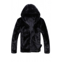 Winter's Stylish Black Plain Long Sleeve Open Front Faux Mink Hooded Jacket Coat