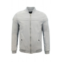 Mens Simple Plain Stripe Printed Stand Collar Long Sleeve Zip Up Casual Baseball Jacket