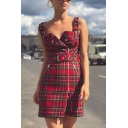 Womens Classic Plaid Adjustable Straps Zip Embellished Belted Mini A-Line Overall Dress