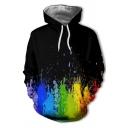 Mens Cool Colorful Splash Painting 3D Pattern Long Sleeve Black Drawstring Hoodie