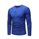 Mens Casual Solid Color Long Sleeve Crewneck Knitted Slim Fitted Pullover Sweater