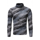 Mens Gray Popular Turtleneck Long-Sleeved Marbled Stripe Pullover Sweater Top