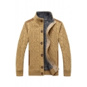 Mens Popular Plain Cable Knit Long Sleeve Stand Collar Single Breasted Slim Fit Cardigan Coat