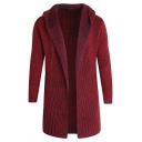 Mens Casual Plain Long Sleeve Open Front Burgundy Longline Hooded Cardigan Knitted Coat