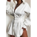 Ladies Fashionable Long Sleeve Gathered Waist Button Up Curved Hem Plain White Mini Shirt Dress