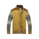Vintage Geometric Printed Long Sleeve Stand Collar Zip Up Yellow Casual Sports Cardigan Coat
