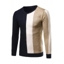 Mens Leisure Vertical Stripe Printed V-Neck Long Sleeve Slim Fit Knitted Pullover Sweater