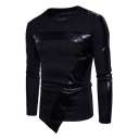 Mens Cool Solid Color PU Leather Panel Long Sleeve Round Neck Asymmetric Sweater