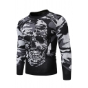 Exclusive Camouflage Skull Printed Long Sleeve Crewneck Black and Grey Leisure Knitted Sweater