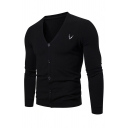Mens Casual Plain Long Sleeve V-Neck Button Down Thin Fitted Cardigan Knitted Coat