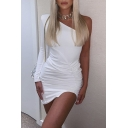 Womens Chic One Shoulder Long Sleeve Side Ruched Solid Color Sexy Mini Asymmetric Dress