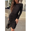 Womens Elegant Solid Color Long Sleeve Open Back Ruched Detail Midi Party Dress