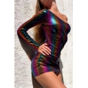 Womens Cool Club Style Metallic Rainbow Printed One Shoulder Single Sleeve Mini Fitted Dress