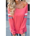 Womens Active Pink Colorblocked Stripes Printed Long Sleeve Round Neck Casual Relaxed T-Shirt