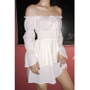 Womens Elegant White Tied Off Shoulder Bell Long Sleeve Ruched Gathered Waist Mini Party Dress