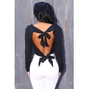Womens Sexy Plain Black Tied Open Back Long Sleeve Cropped T-Shirt
