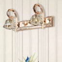 Clear Crystal Faceted Vanity Lamp Vintage 2/3/4 Lights Gold Finish Wall Sconce Fixture with Curved Arm, 12.5