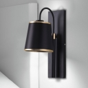 Conical Fabric Wall Light Industrial Stylish 1 Light Black/White Wall Mounted Light with Metal Gooseneck Arm