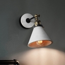 Cement Cone/Cylinder/Bowl Wall Lighting Farmhouse Style 1 Head Angle Adjustable Gray Wall Sconce for Bedroom