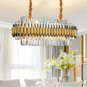 Oval Clear Crystal Glass Hanging Light Kit Traditional 10 Heads Dining Room Chandelier Lamp