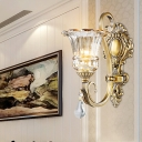 Clear Glass Flower Wall Light Modernism 1/2 Heads Brass Sconce Light Fixture with Crystal Drop